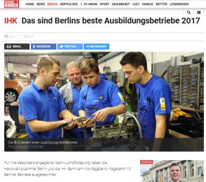 Berlins beste Ausbildungsbetriebe 2017