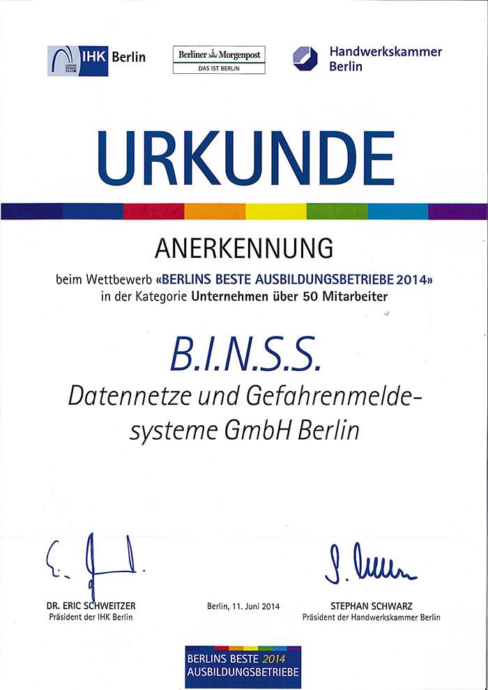IHK/HWK Urkunde - Berlins beste Ausbildungsbetriebe 2014