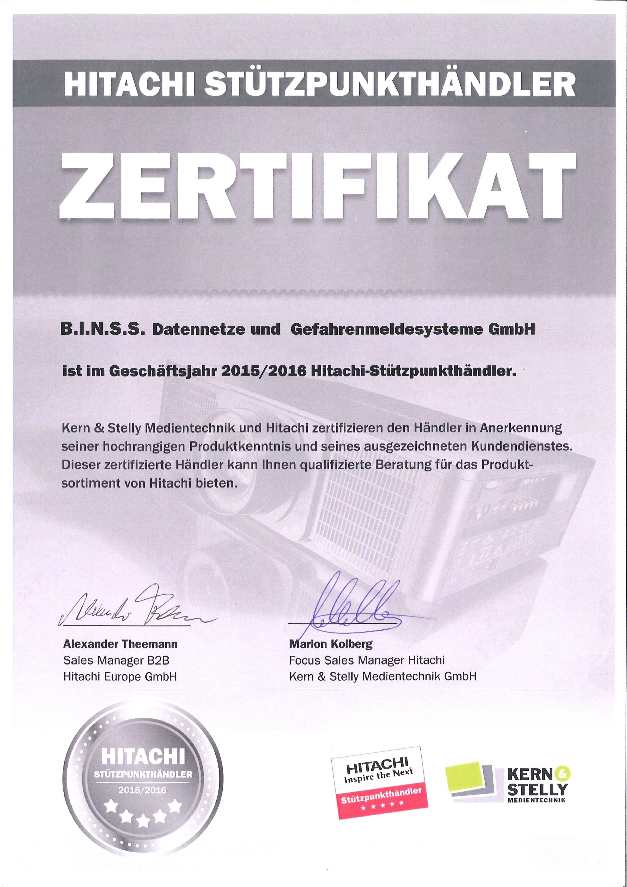 Zertifikat Hitachi Stützpunkthändler