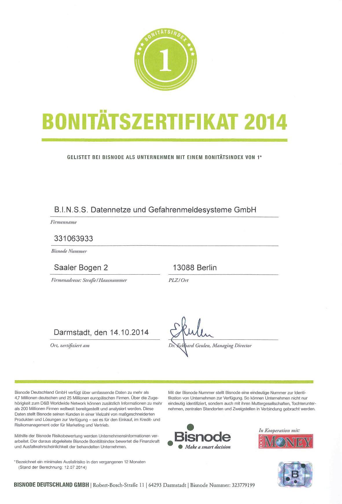 Bonitätszertifikat 2014 Bisnode