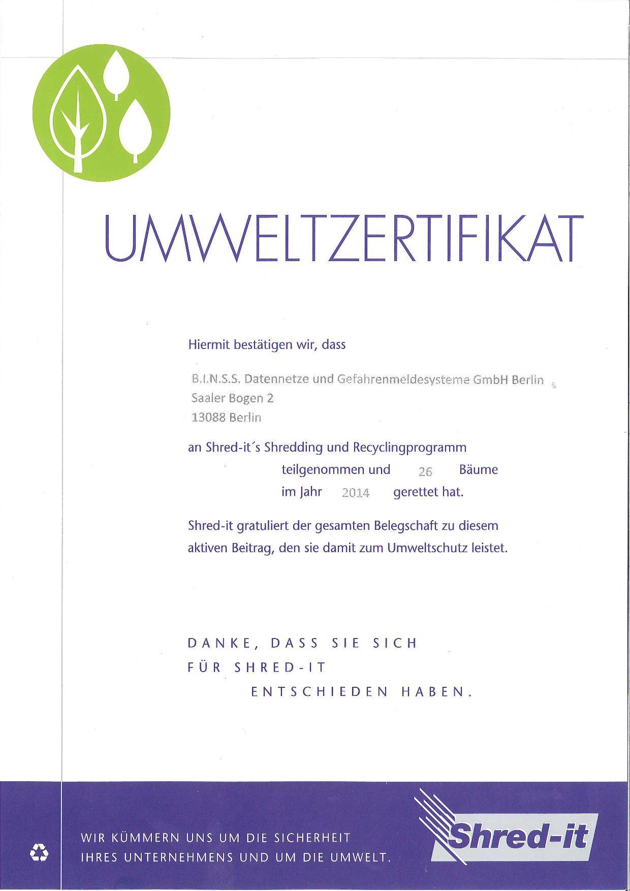 Shred-It Umweltzertifikat 2014