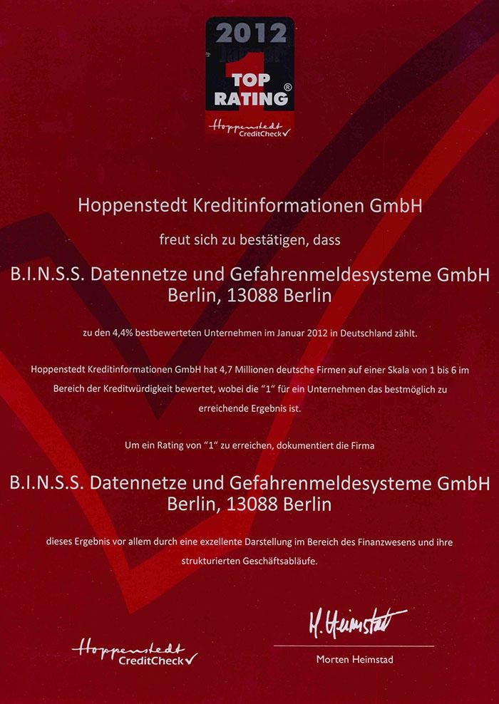 Top Rating 2012 Hoppenstedt Credit Check