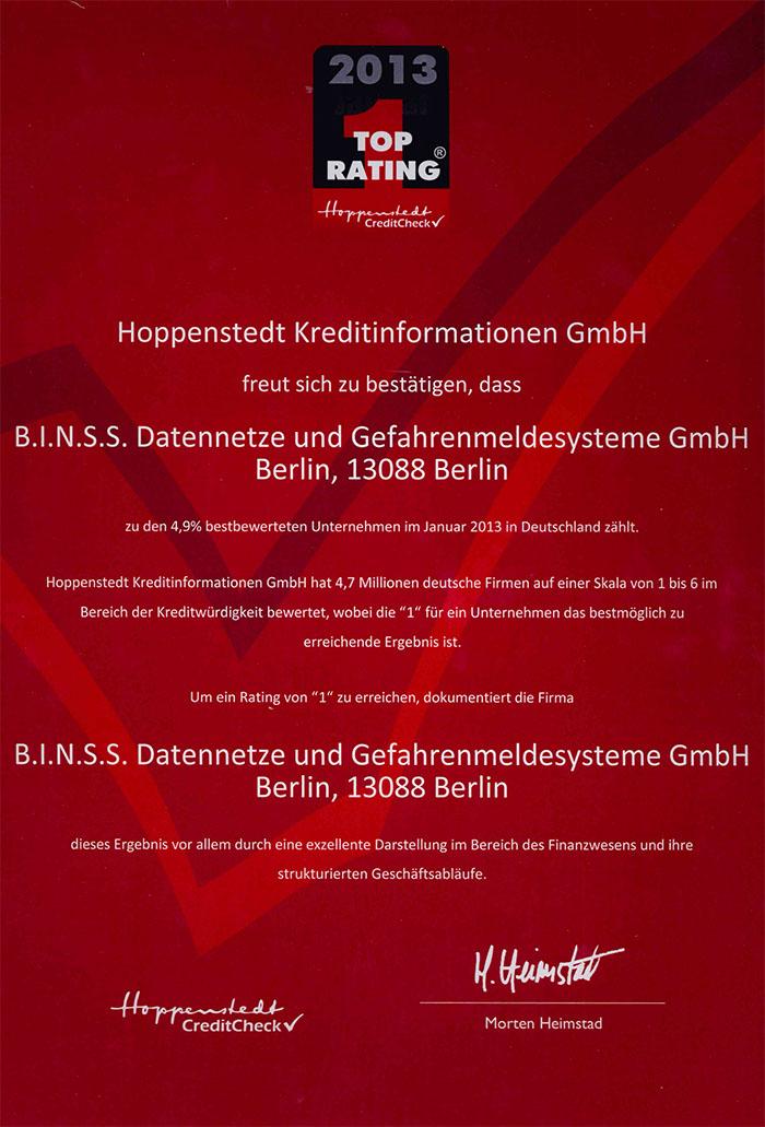 Top Rating 2013 Hoppenstedt Credit Check