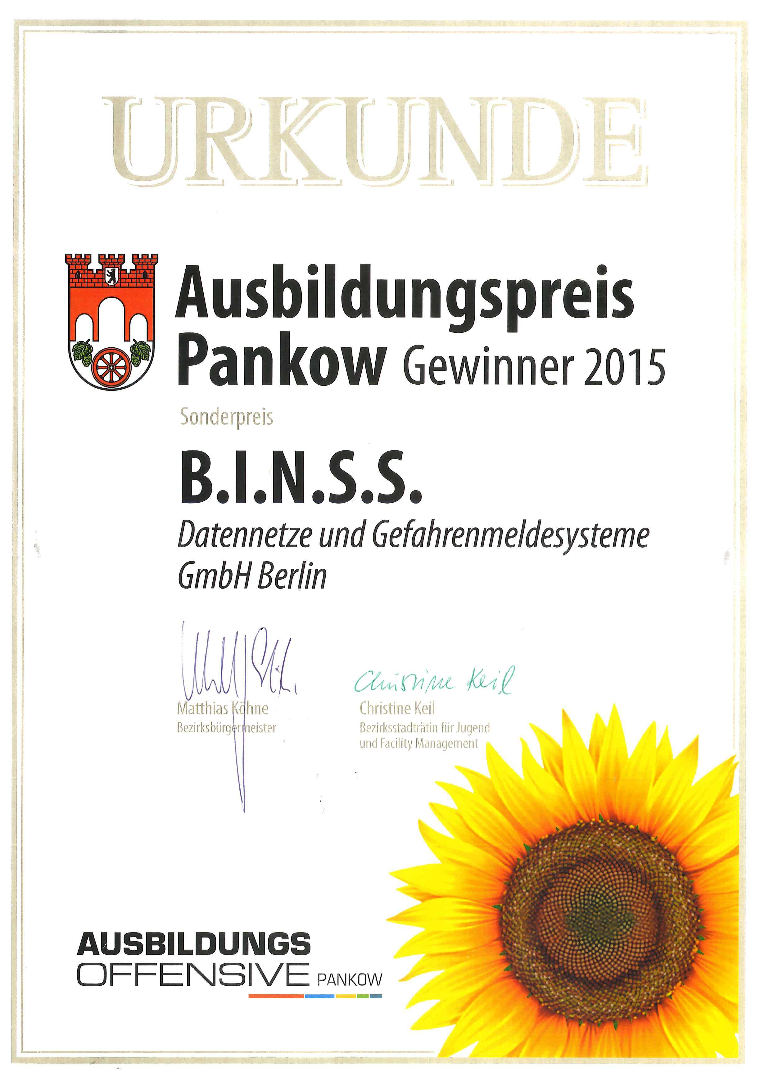 Urkunde-Sonderpreis-Ausbildungsoffensive-Pankow-2015