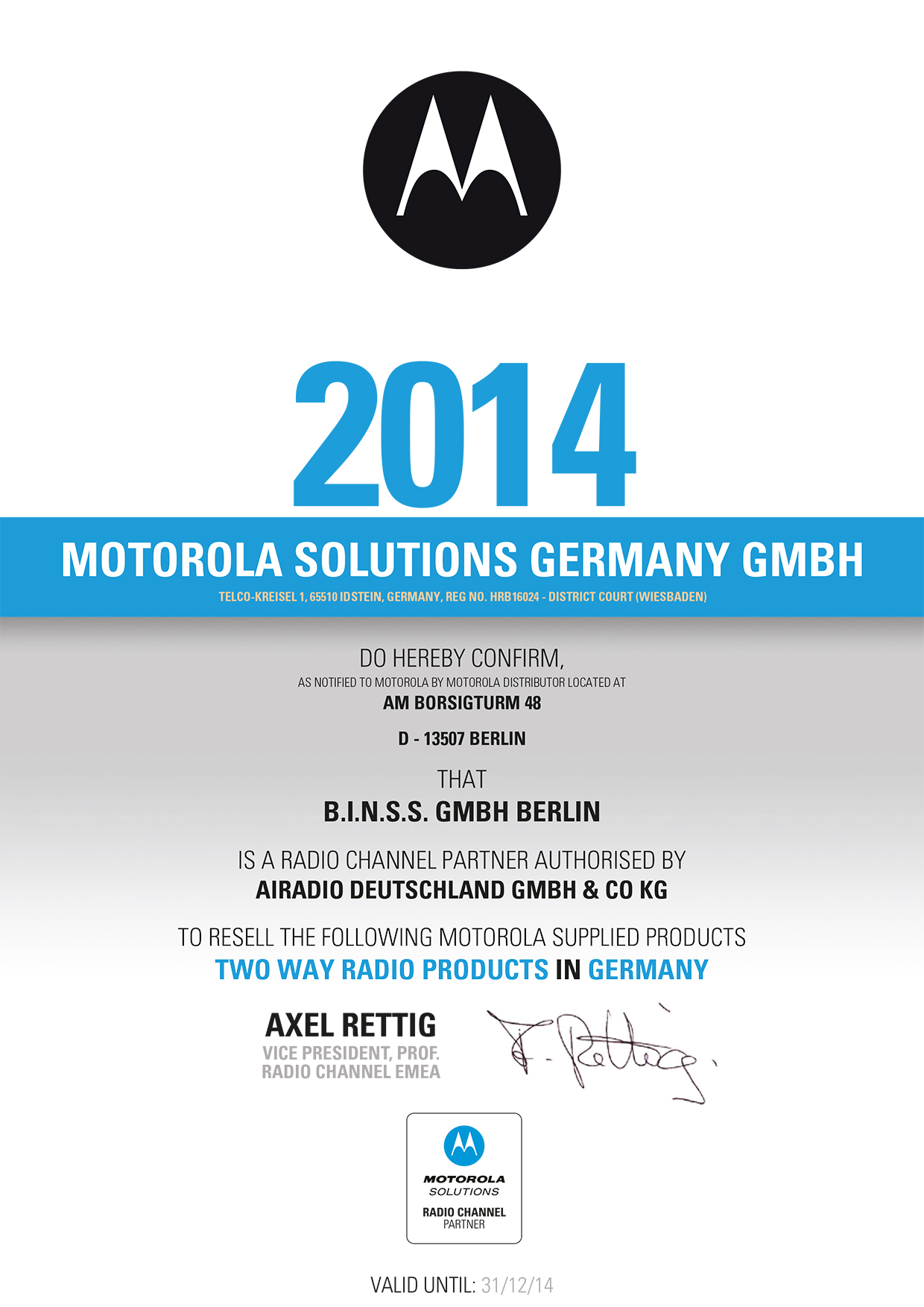 Zertifikat Motorola Radio Channel Partner 2014
