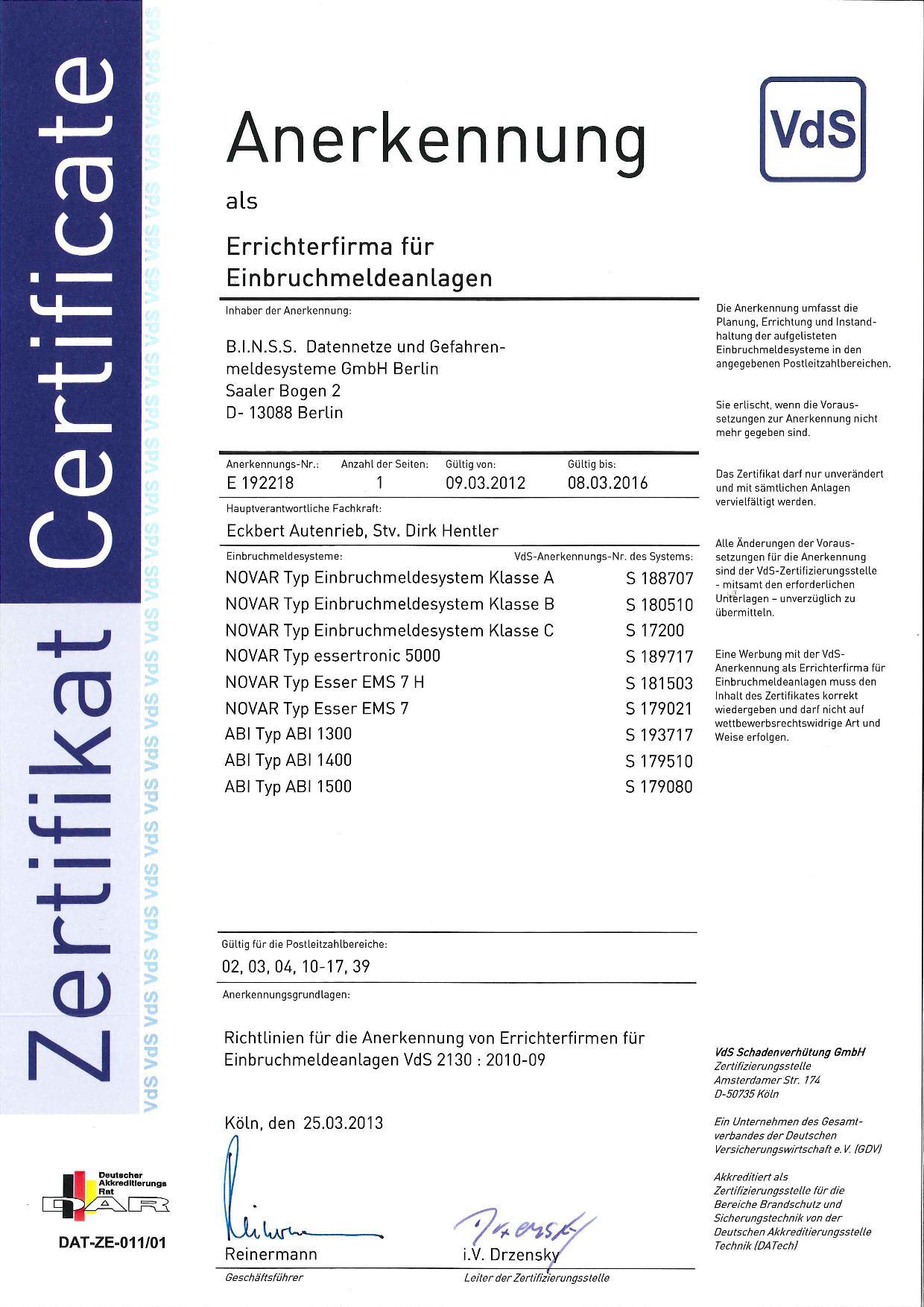 VDS Anerkennung Errichterfirma EMA